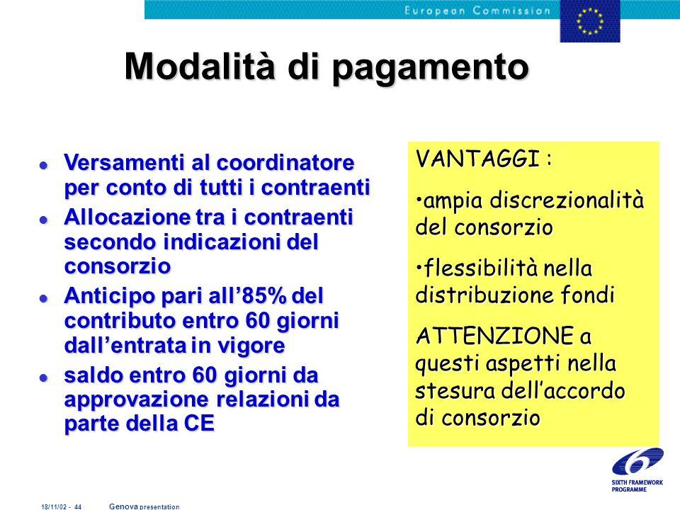 18/11/02 - 44 Genova presentation Modalità di pagamento l Versamenti al coordinatore per conto di tutti i contraenti l Allocazione tra i contraenti se