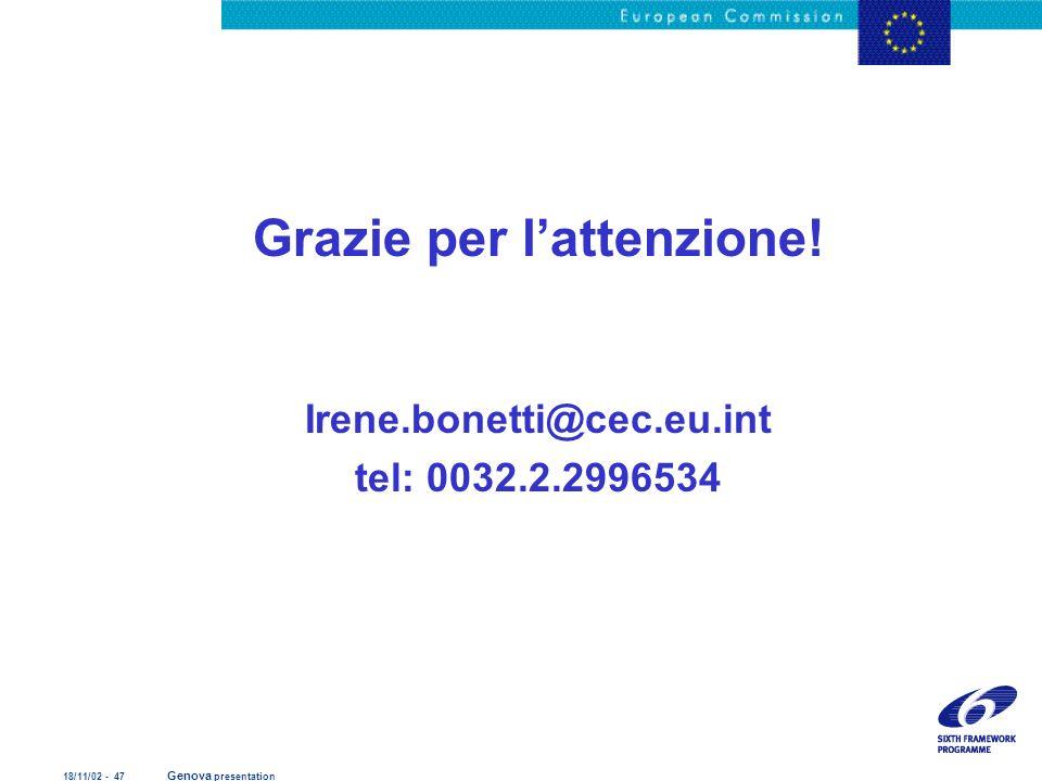 18/11/02 - 47 Genova presentation Grazie per lattenzione! Irene.bonetti@cec.eu.int tel: 0032.2.2996534