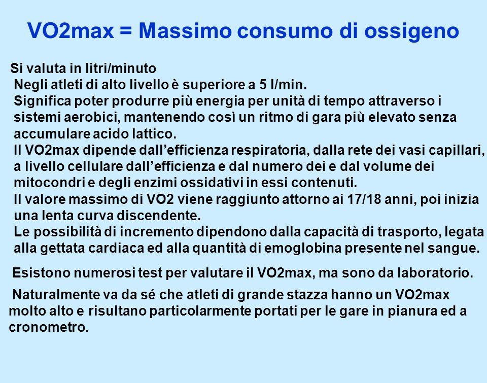 VO2max = Massimo consumo di ossigeno Si valuta in litri/minuto Negli atleti di alto livello è superiore a 5 l/min. Significa poter produrre più energi