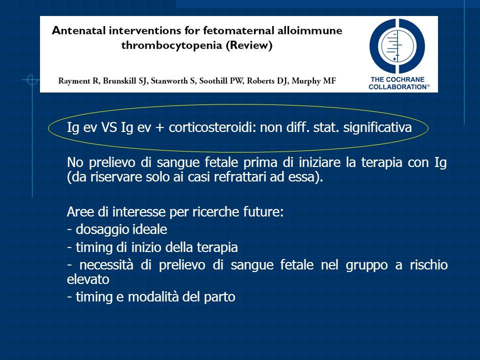 Ig ev VS Ig ev + corticosteroidi: non diff. stat. significativa No prelievo di sangue fetale prima di iniziare la terapia con Ig (da riservare solo ai