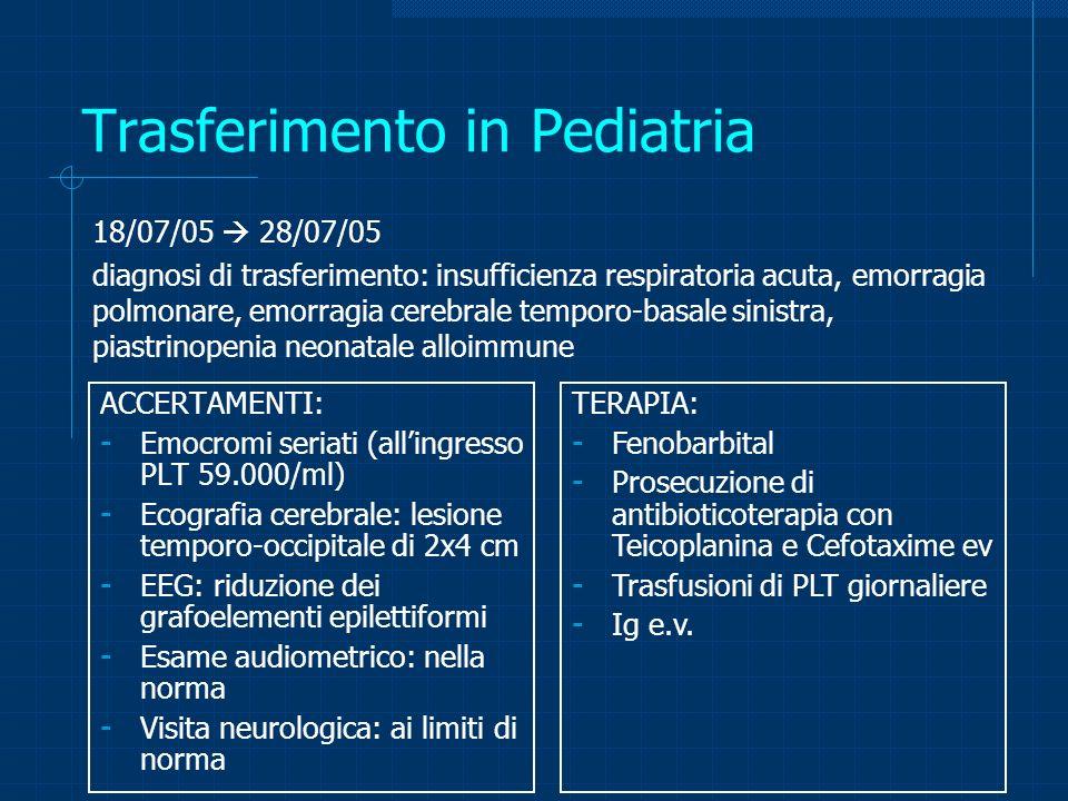 Alloimmunizzazioni materno-fetali Nel 50% dei casi si verifica alla prima gravidanza Non cè trattamento preventivo (immunoprofilassi) Incidenza di morbidità severa e/o mortalità per NAIT: 10-20/100.000 vs 6/100.000 per incompatibilità Rh