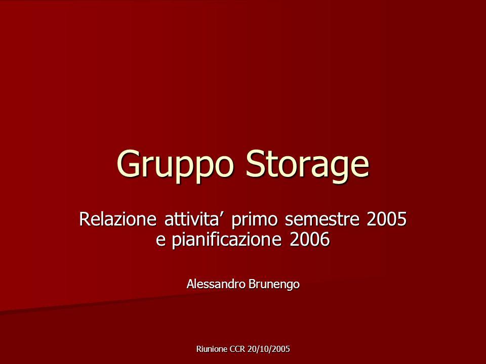 Riunione CCR 20/10/2005 Gruppo Storage Relazione attivita primo semestre 2005 e pianificazione 2006 Alessandro Brunengo
