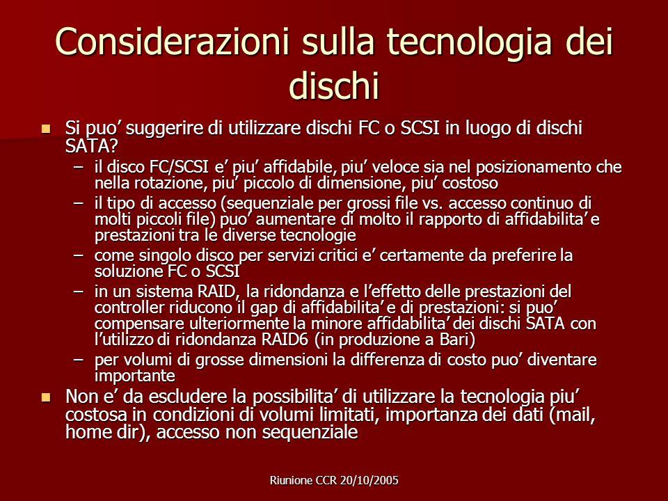 Riunione CCR 20/10/2005 Considerazioni sulla tecnologia dei dischi Si puo suggerire di utilizzare dischi FC o SCSI in luogo di dischi SATA.