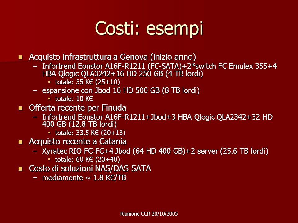 Riunione CCR 20/10/2005 Costi: esempi Acquisto infrastruttura a Genova (inizio anno) Acquisto infrastruttura a Genova (inizio anno) –Infortrend Eonstor A16F-R1211 (FC-SATA)+2*switch FC Emulex 355+4 HBA Qlogic QLA3242+16 HD 250 GB (4 TB lordi) totale: 35 KЄ (25+10) totale: 35 KЄ (25+10) –espansione con Jbod 16 HD 500 GB (8 TB lordi) totale: 10 KЄ totale: 10 KЄ Offerta recente per Finuda Offerta recente per Finuda –Infortrend Eonstor A16F-R1211+Jbod+3 HBA Qlogic QLA2342+32 HD 400 GB (12.8 TB lordi) totale: 33.5 KЄ (20+13) totale: 33.5 KЄ (20+13) Acquisto recente a Catania Acquisto recente a Catania –Xyratec RIO FC-FC+4 Jbod (64 HD 400 GB)+2 server (25.6 TB lordi) totale: 60 KЄ (20+40) totale: 60 KЄ (20+40) Costo di soluzioni NAS/DAS SATA Costo di soluzioni NAS/DAS SATA –mediamente ~ 1.8 KЄ/TB