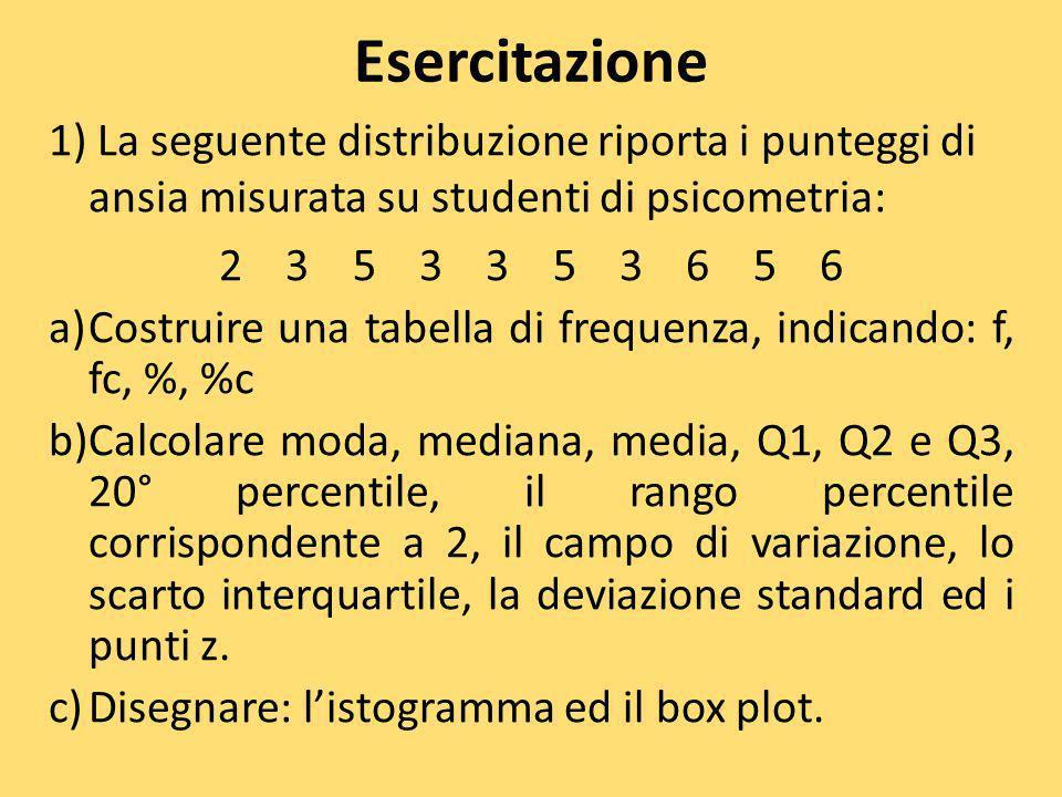 Esercitazione 1) La seguente distribuzione riporta i punteggi di ansia misurata su studenti di psicometria: 2 3 5 3 3 5 3 6 5 6 a)Costruire una tabell
