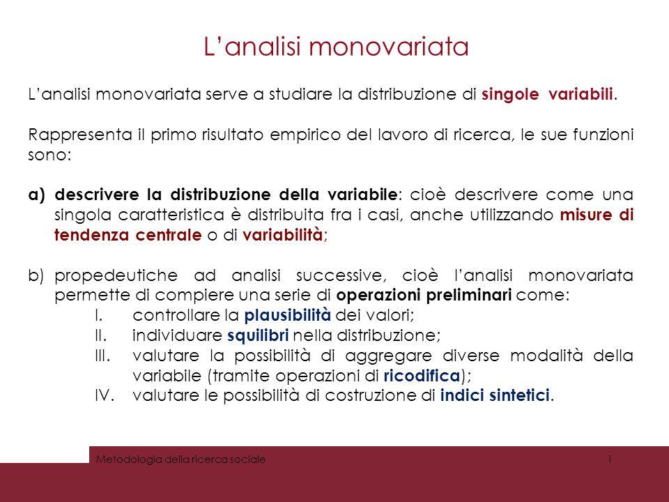 Lanalisi monovariata: la distribuzione di frequenza La distribuzione di frequenza di una variabile è una rappresentazione in cui ad ogni valore ( modalità ) della variabile viene associato il numero di casi che lo presenta (la sua frequenza ).