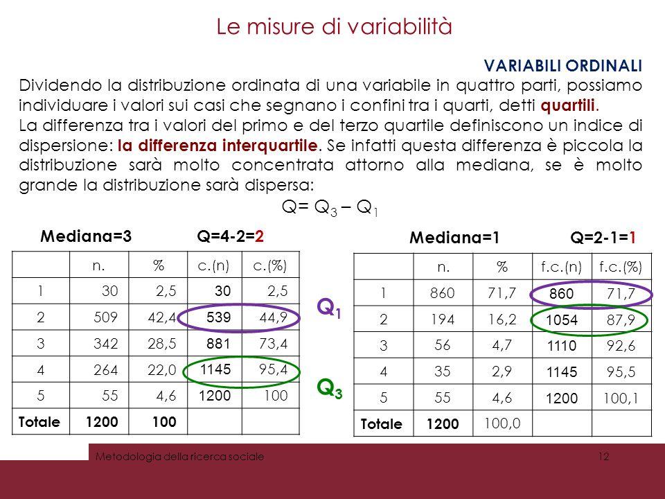Le misure di variabilità VARIABILI ORDINALI Dividendo la distribuzione ordinata di una variabile in quattro parti, possiamo individuare i valori sui casi che segnano i confini tra i quarti, detti quartili.