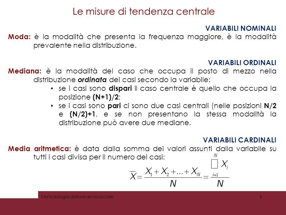 Le misure di tendenza centrale VARIABILI NOMINALI Moda: è la modalità che presenta la frequenza maggiore, è la modalità prevalente nella distribuzione.