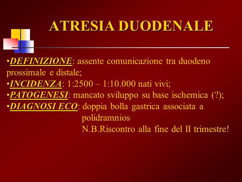 ATRESIA DUODENALE DEFINIZIONEDEFINIZIONE: assente comunicazione tra duodeno prossimale e distale; INCIDENZAINCIDENZA: 1:2500 – 1:10.000 nati vivi; PAT