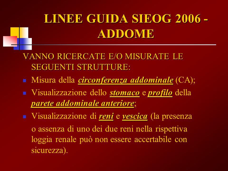 VANNO RICERCATE E/O MISURATE LE SEGUENTI STRUTTURE: circonferenza addominale Misura della circonferenza addominale (CA); stomacoprofilo parete addomin