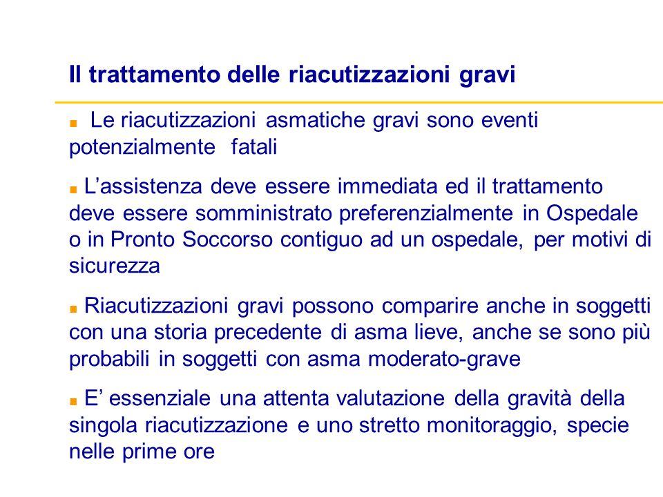 Il trattamento delle riacutizzazioni gravi Le riacutizzazioni asmatiche gravi sono eventi potenzialmente fatali Lassistenza deve essere immediata ed i