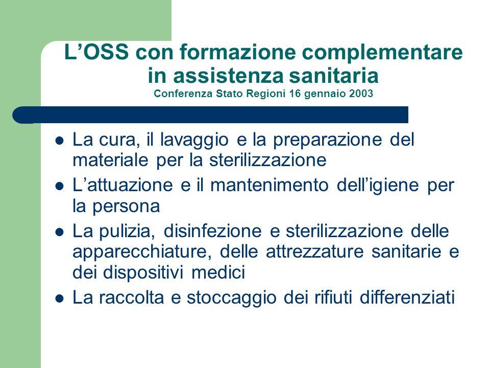 LOSS con formazione complementare in assistenza sanitaria Conferenza Stato Regioni 16 gennaio 2003 La cura, il lavaggio e la preparazione del material