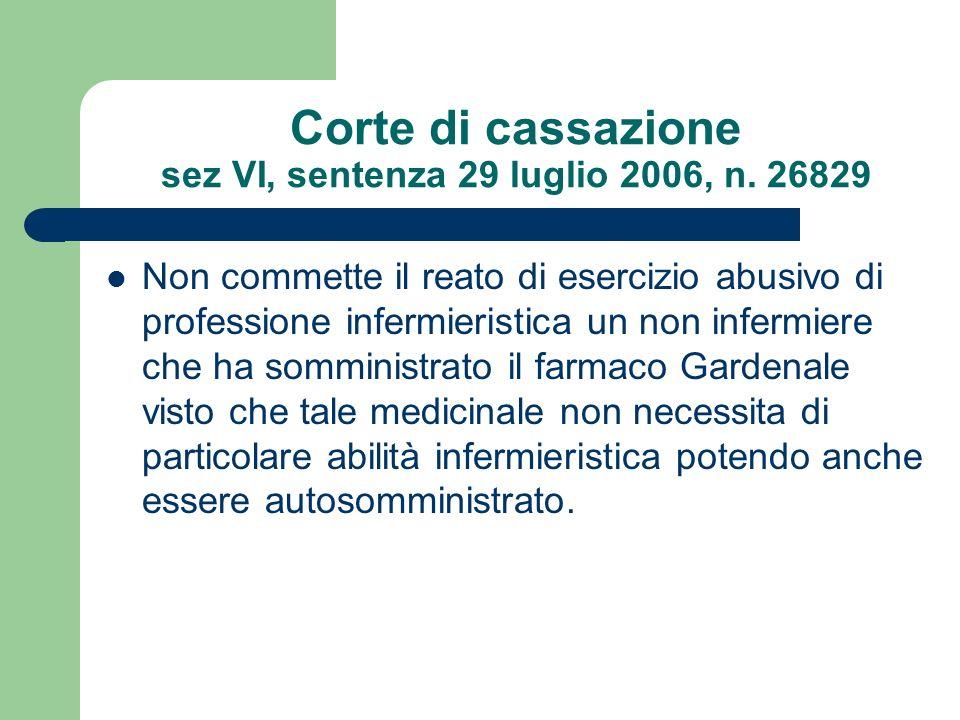 Corte di cassazione sez VI, sentenza 29 luglio 2006, n. 26829 Non commette il reato di esercizio abusivo di professione infermieristica un non infermi