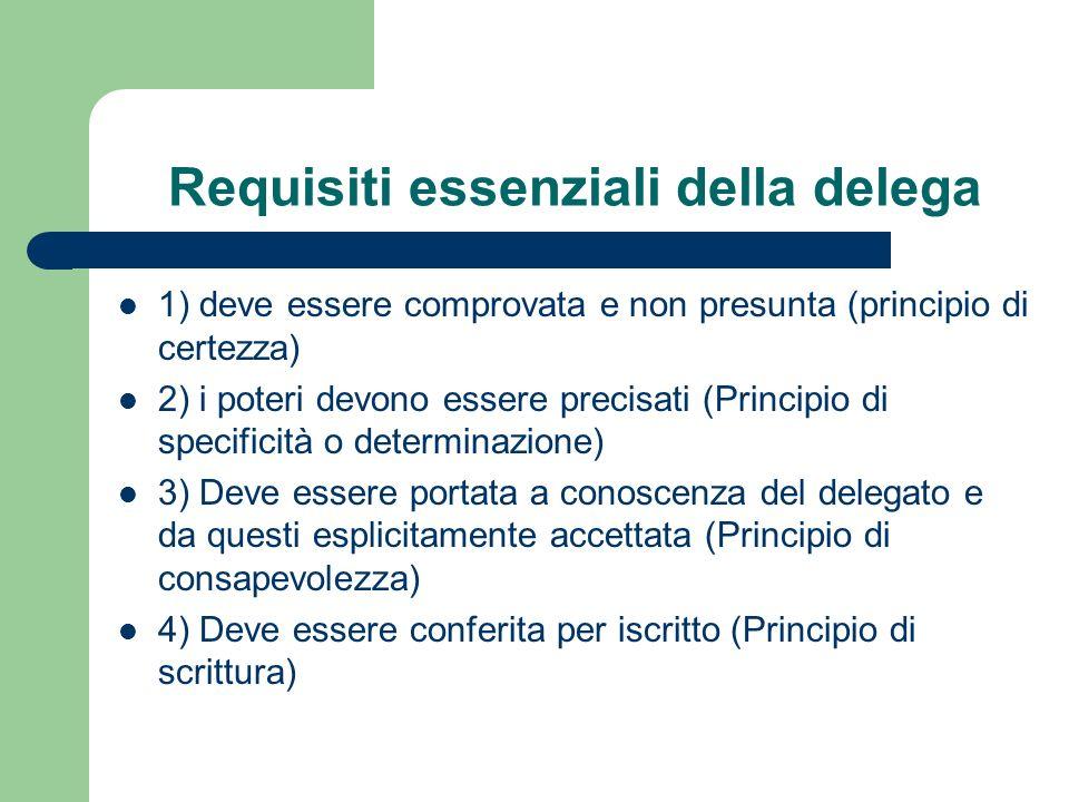 Requisiti essenziali della delega 1) deve essere comprovata e non presunta (principio di certezza) 2) i poteri devono essere precisati (Principio di s