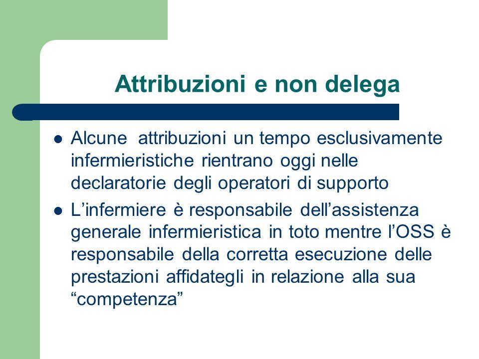 Attribuzioni e non delega Alcune attribuzioni un tempo esclusivamente infermieristiche rientrano oggi nelle declaratorie degli operatori di supporto L