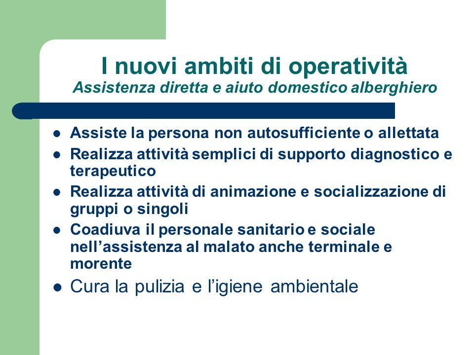 I nuovi ambiti di operatività Assistenza diretta e aiuto domestico alberghiero Assiste la persona non autosufficiente o allettata Realizza attività se