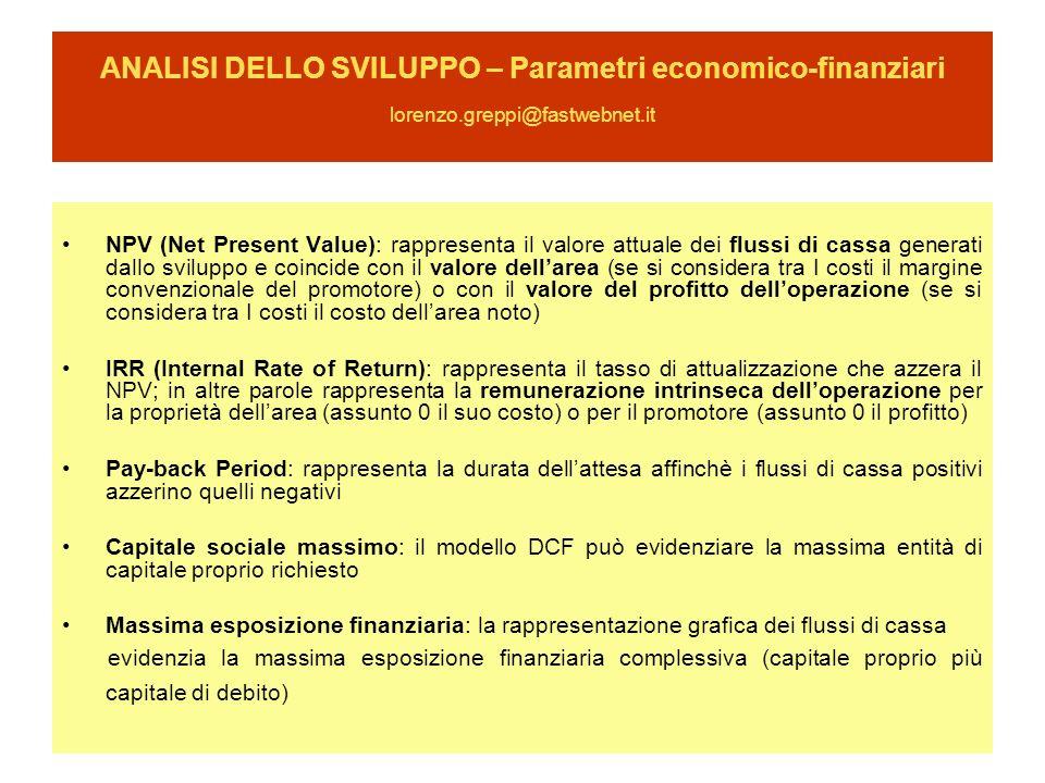 ANALISI DELLO SVILUPPO – Parametri economico-finanziari lorenzo.greppi@fastwebnet.it NPV (Net Present Value): rappresenta il valore attuale dei flussi