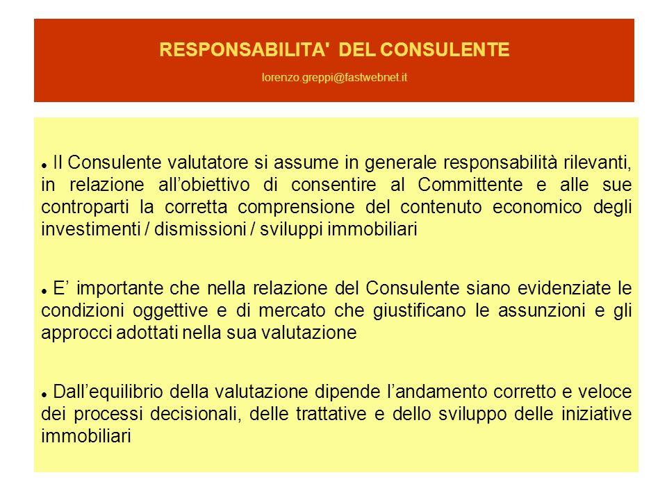 RESPONSABILITA' DEL CONSULENTE lorenzo.greppi@fastwebnet.it Il Consulente valutatore si assume in generale responsabilità rilevanti, in relazione allo