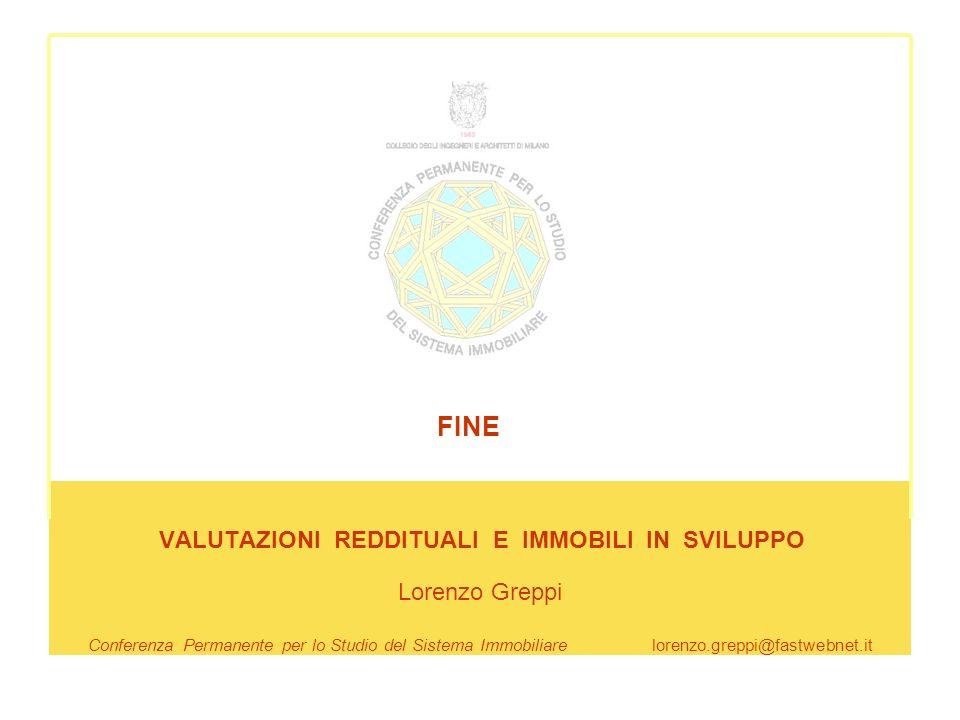 VALUTAZIONI REDDITUALI E IMMOBILI IN SVILUPPO Lorenzo Greppi Conferenza Permanente per lo Studio del Sistema Immobiliare lorenzo.greppi@fastwebnet.it