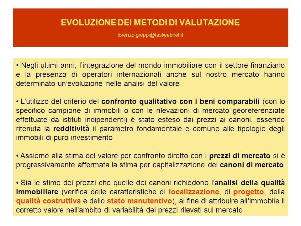 EVOLUZIONE DEI METODI DI VALUTAZIONE lorenzo.greppi@fastwebnet.it Negli ultimi anni, lintegrazione del mondo immobiliare con il settore finanziario e