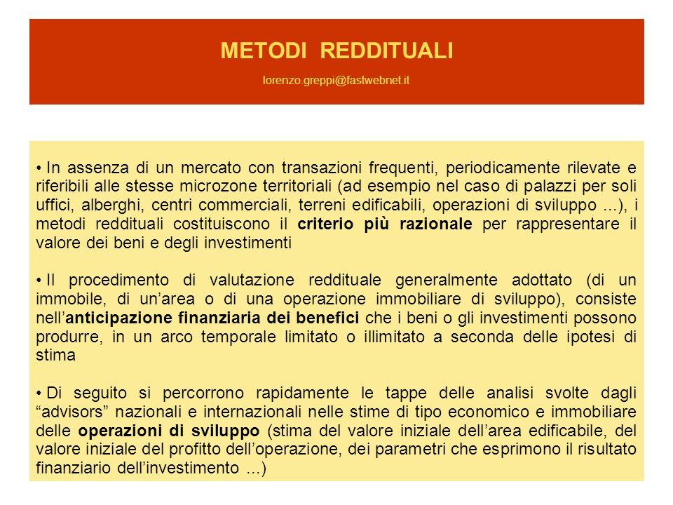 METODI REDDITUALI lorenzo.greppi@fastwebnet.it In assenza di un mercato con transazioni frequenti, periodicamente rilevate e riferibili alle stesse mi