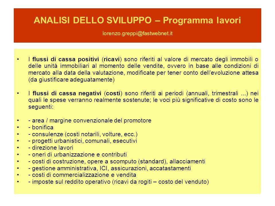 ANALISI DELLO SVILUPPO – Programma lavori lorenzo.greppi@fastwebnet.it I flussi di cassa positivi (ricavi) sono riferiti al valore di mercato degli im