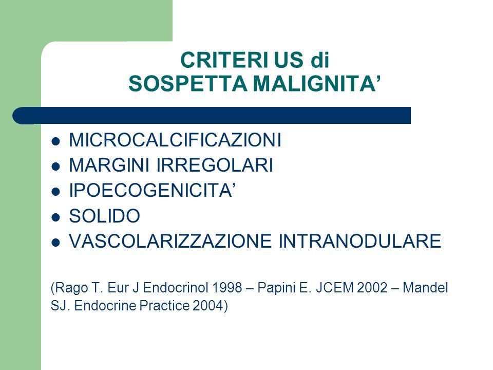 CRITERI US di SOSPETTA MALIGNITA MICROCALCIFICAZIONI MARGINI IRREGOLARI IPOECOGENICITA SOLIDO VASCOLARIZZAZIONE INTRANODULARE (Rago T. Eur J Endocrino