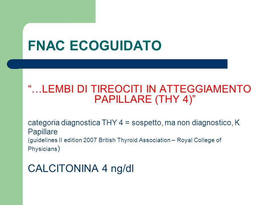FNAC ECOGUIDATO …LEMBI DI TIREOCITI IN ATTEGGIAMENTO PAPILLARE (THY 4) categoria diagnostica THY 4 = sospetto, ma non diagnostico, K Papillare (guidel