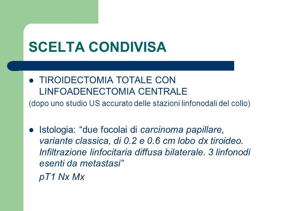 SCELTA CONDIVISA TIROIDECTOMIA TOTALE CON LINFOADENECTOMIA CENTRALE (dopo uno studio US accurato delle stazioni linfonodali del collo) Istologia: due
