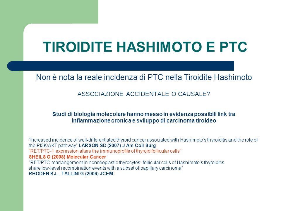 TIROIDITE HASHIMOTO E PTC Non è nota la reale incidenza di PTC nella Tiroidite Hashimoto ASSOCIAZIONE ACCIDENTALE O CAUSALE? Studi di biologia molecol