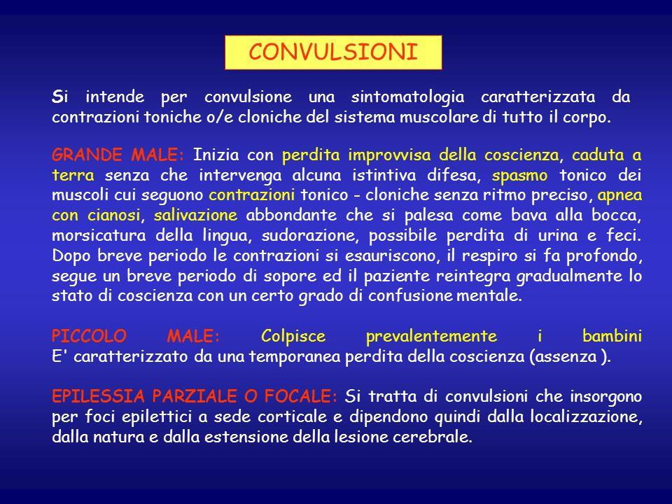 CONVULSIONI Si intende per convulsione una sintomatologia caratterizzata da contrazioni toniche o/e cloniche del sistema muscolare di tutto il corpo.