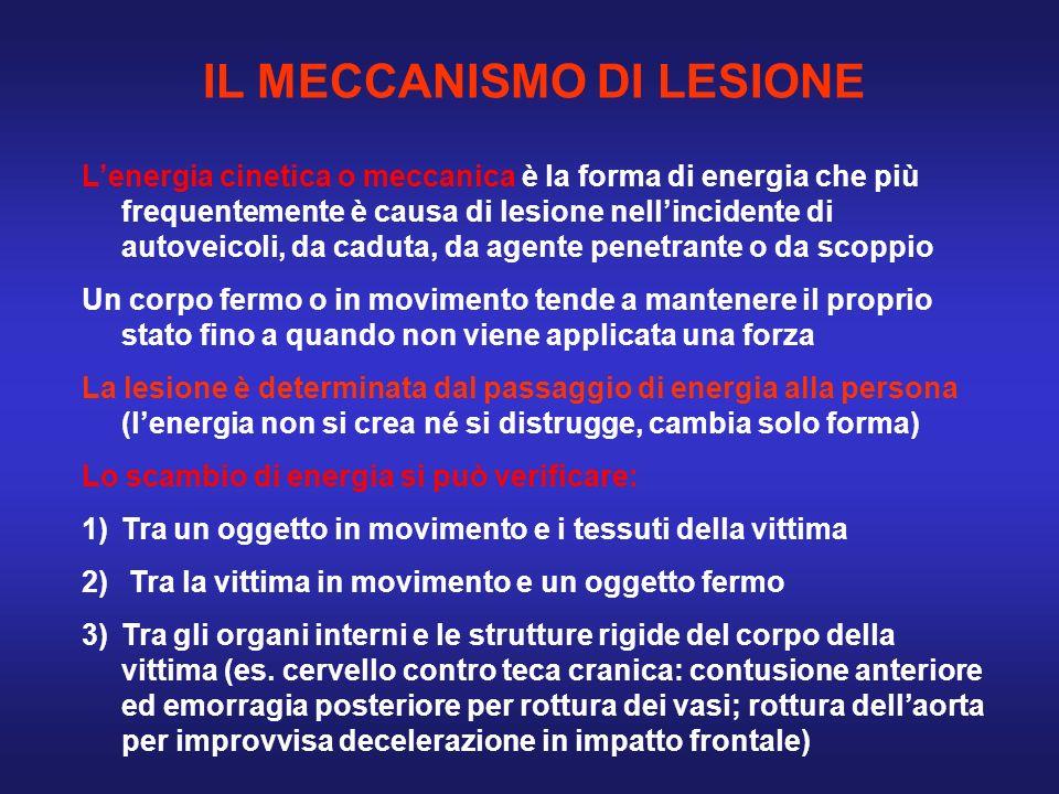 IL MECCANISMO DI LESIONE Lenergia cinetica o meccanica è la forma di energia che più frequentemente è causa di lesione nellincidente di autoveicoli, d