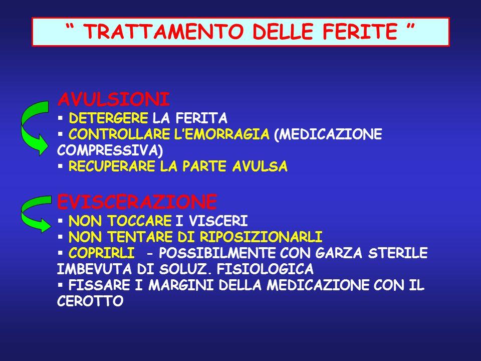 TRATTAMENTO DELLE FERITE AVULSIONI DETERGERE LA FERITA CONTROLLARE LEMORRAGIA (MEDICAZIONE COMPRESSIVA) RECUPERARE LA PARTE AVULSA EVISCERAZIONE NON T