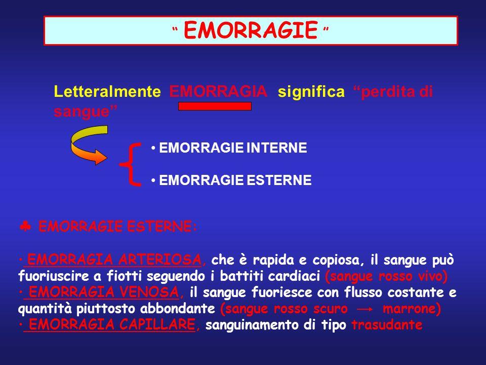 EMORRAGIE Letteralmente EMORRAGIA significa perdita di sangue EMORRAGIE INTERNE EMORRAGIE ESTERNE EMORRAGIE ESTERNE: EMORRAGIA ARTERIOSA, che è rapida