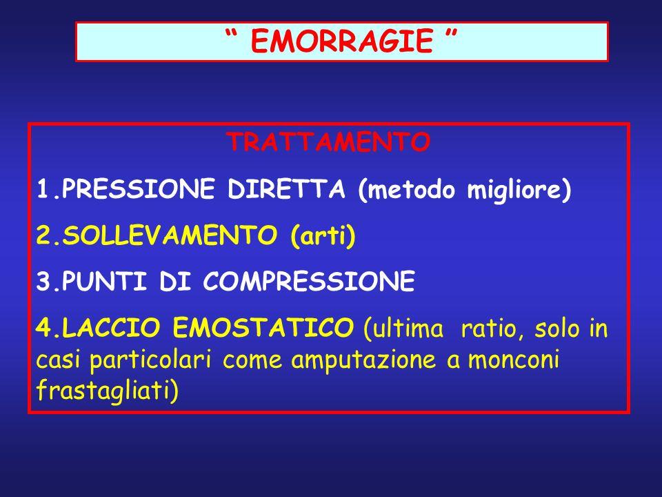 EMORRAGIE TRATTAMENTO 1.PRESSIONE DIRETTA (metodo migliore) 2.SOLLEVAMENTO (arti) 3.PUNTI DI COMPRESSIONE 4.LACCIO EMOSTATICO (ultima ratio, solo in c