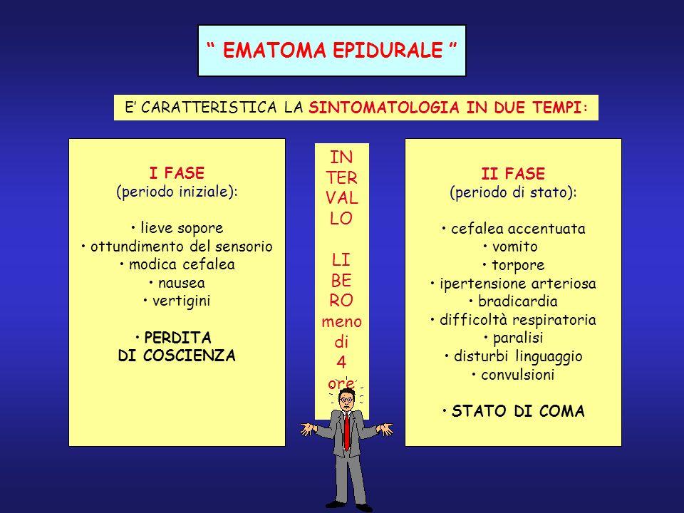 EMATOMA EPIDURALE E CARATTERISTICA LA SINTOMATOLOGIA IN DUE TEMPI: I FASE (periodo iniziale): lieve sopore ottundimento del sensorio modica cefalea na