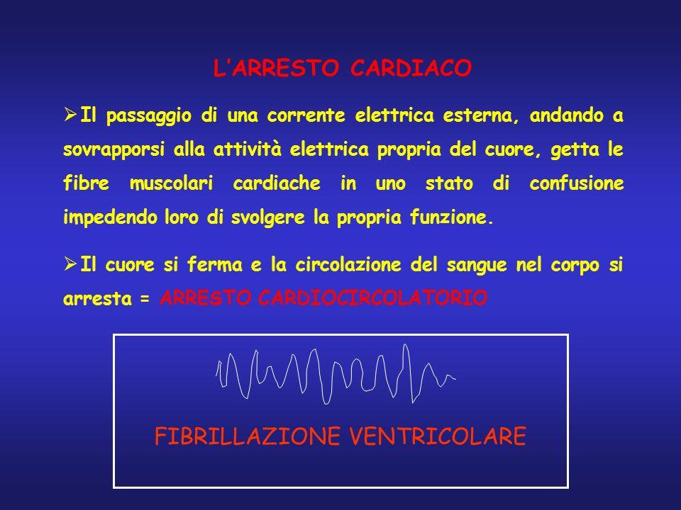 LARRESTO CARDIACO Il passaggio di una corrente elettrica esterna, andando a sovrapporsi alla attività elettrica propria del cuore, getta le fibre musc
