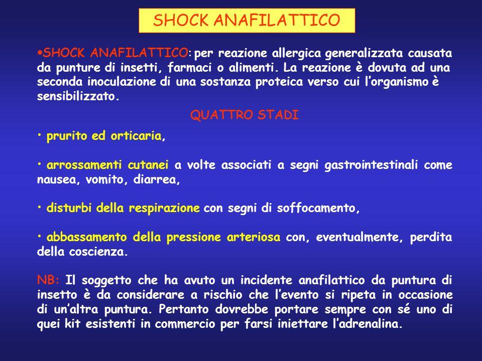 SHOCK ANAFILATTICO QUATTRO STADI prurito ed orticaria, arrossamenti cutanei a volte associati a segni gastrointestinali come nausea, vomito, diarrea,