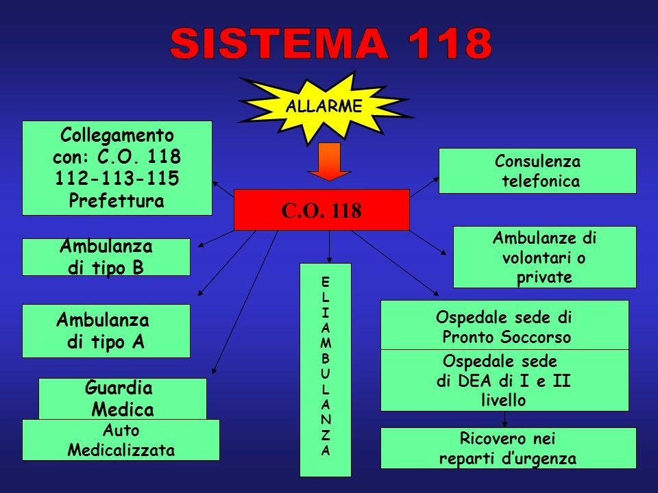 ALLARME C.O. 118 Collegamento con: C.O. 118 112-113-115 Prefettura Ambulanza di tipo B Ambulanza di tipo A Guardia Medica Auto Medicalizzata Ambulanze