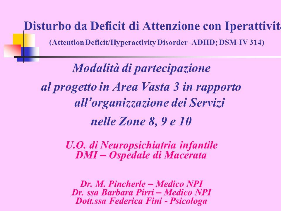 Disturbo da Deficit di Attenzione con Iperattivit à (Attention Deficit/Hyperactivity Disorder -ADHD; DSM-IV 314) Modalità di partecipazione al progetto in Area Vasta 3 in rapporto all organizzazione dei Servizi nelle Zone 8, 9 e 10 U.O.