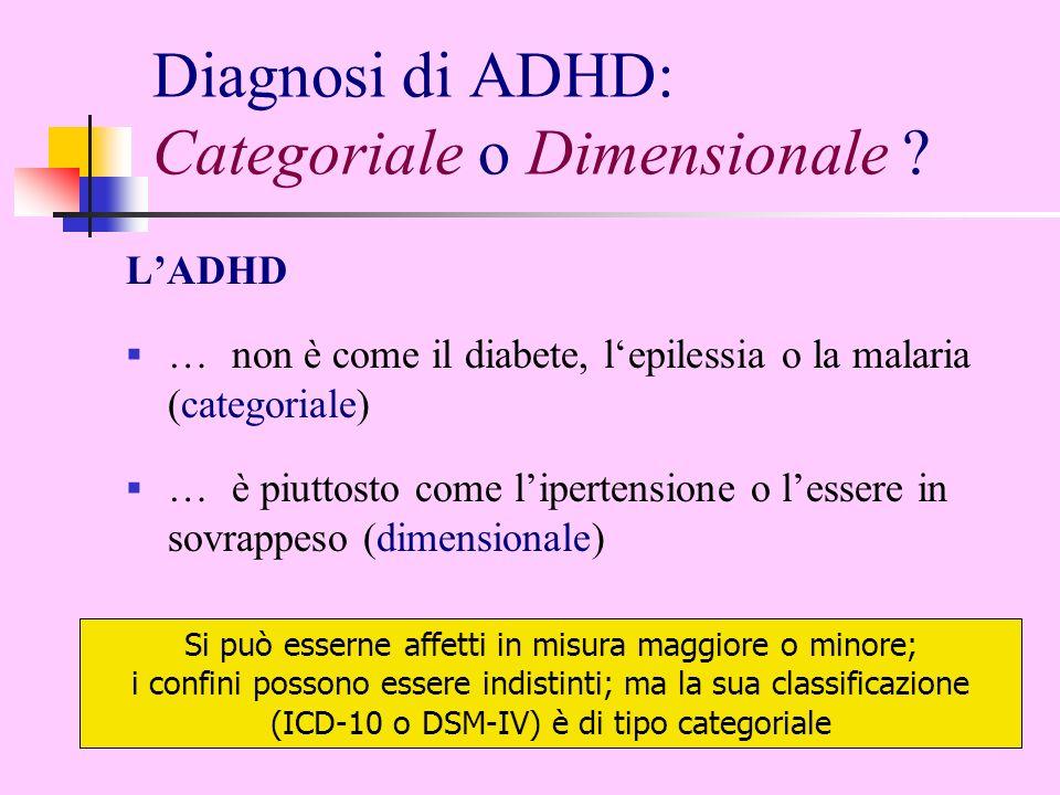 Diagnosi di ADHD: Categoriale o Dimensionale ? LADHD …non è come il diabete, lepilessia o la malaria (categoriale) …è piuttosto come lipertensione o l