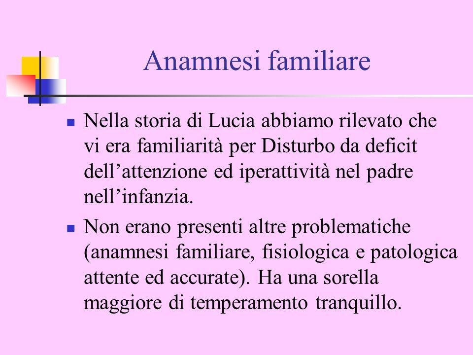 Anamnesi familiare Nella storia di Lucia abbiamo rilevato che vi era familiarità per Disturbo da deficit dellattenzione ed iperattività nel padre nellinfanzia.