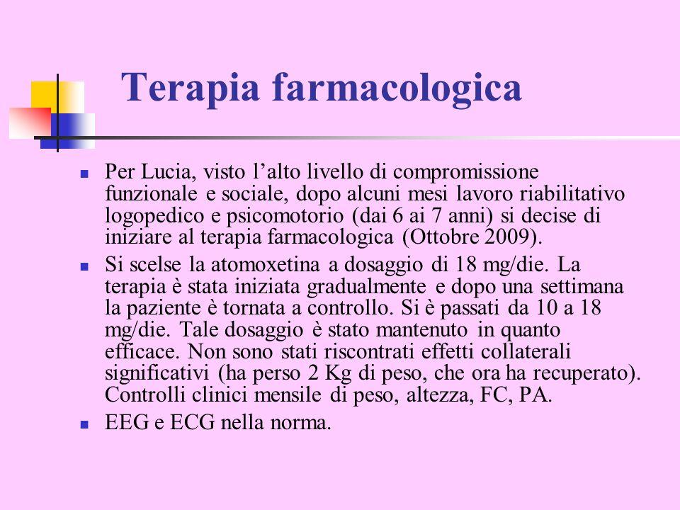 Terapia farmacologica Per Lucia, visto lalto livello di compromissione funzionale e sociale, dopo alcuni mesi lavoro riabilitativo logopedico e psicomotorio (dai 6 ai 7 anni) si decise di iniziare al terapia farmacologica (Ottobre 2009).