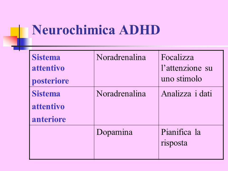Neurochimica ADHD Sistema attentivo posteriore NoradrenalinaFocalizza lattenzione su uno stimolo Sistema attentivo anteriore NoradrenalinaAnalizza i d