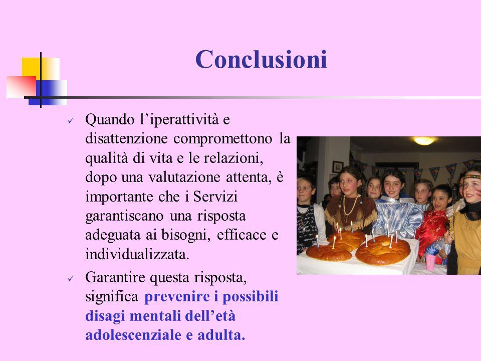 Conclusioni Quando liperattività e disattenzione compromettono la qualità di vita e le relazioni, dopo una valutazione attenta, è importante che i Ser