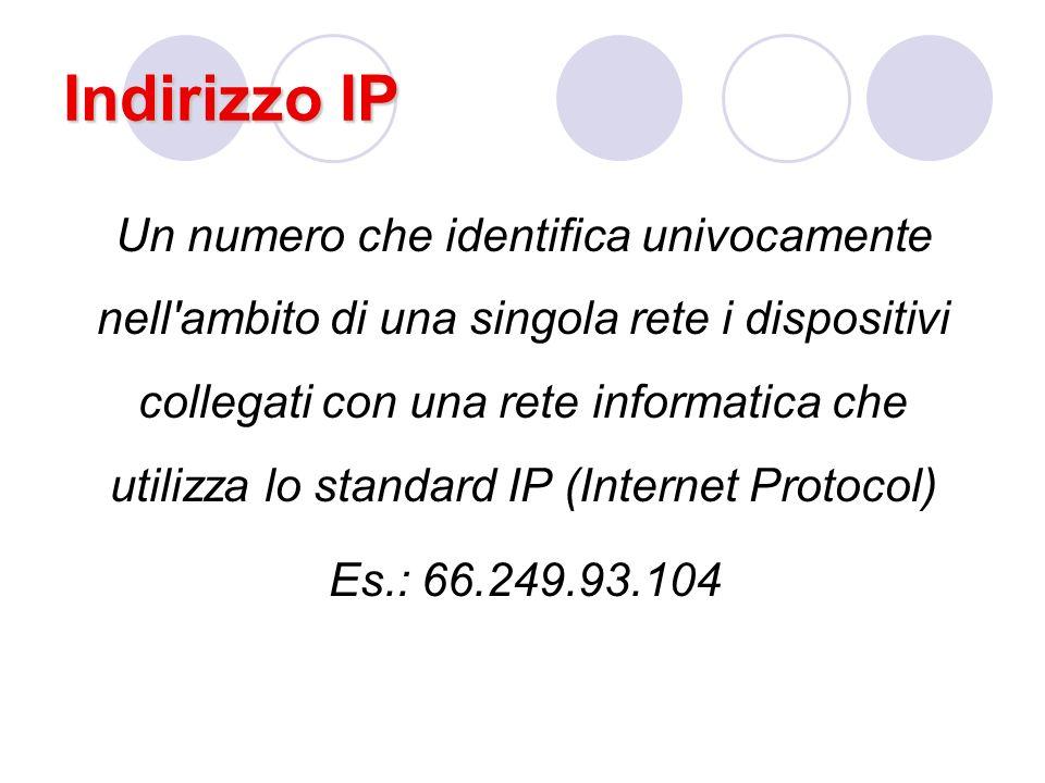 Indirizzo IP Un numero che identifica univocamente nell ambito di una singola rete i dispositivi collegati con una rete informatica che utilizza lo standard IP (Internet Protocol) Es.: 66.249.93.104