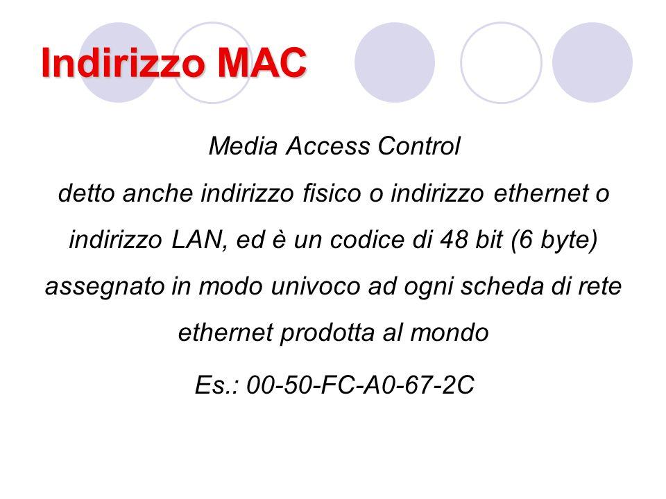 Indirizzo MAC Media Access Control detto anche indirizzo fisico o indirizzo ethernet o indirizzo LAN, ed è un codice di 48 bit (6 byte) assegnato in modo univoco ad ogni scheda di rete ethernet prodotta al mondo Es.: 00-50-FC-A0-67-2C