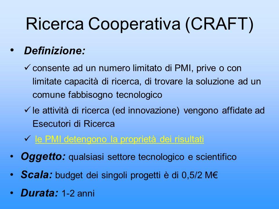 Ricerca Cooperativa (CRAFT) Definizione: consente ad un numero limitato di PMI, prive o con limitate capacità di ricerca, di trovare la soluzione ad u