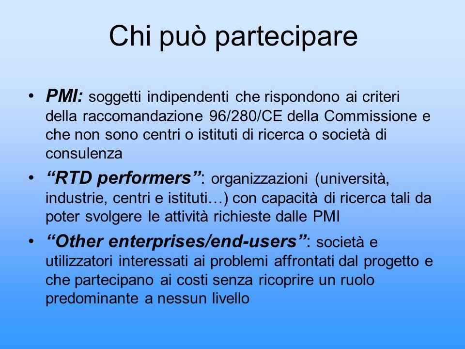 Chi può partecipare PMI: soggetti indipendenti che rispondono ai criteri della raccomandazione 96/280/CE della Commissione e che non sono centri o ist
