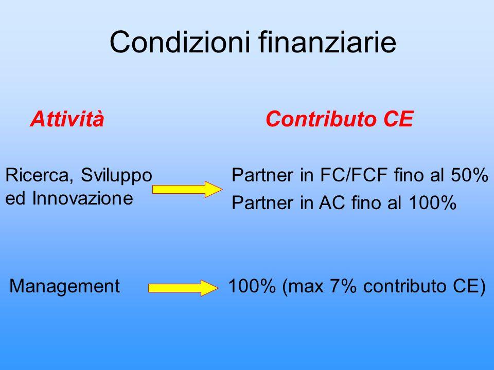 AttivitàContributo CE Ricerca, Sviluppo ed Innovazione Management Partner in FC/FCF fino al 50% Partner in AC fino al 100% Condizioni finanziarie 100%
